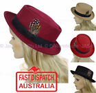 Ladies Men Uni Sex Wool Feather 30s 40s Pork Pie Boater Party Costume Sun Hat