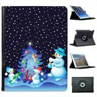 Snowman Family Decorating Xmas Tree Folio Wallet Leather Case For iPad 2, 3 & 4