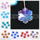 10pcs 14mm Glass Crystal Snowflake Charms Loose Beads Findings Faceted Pendants