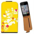 Animal Garden Yellow Leather Flip Case for Apple iPhone 4 4S