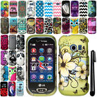 For LG Extravert 2 VN280 Dots Zig Zag Design PATTERN HARD Case Phone Cover + Pen