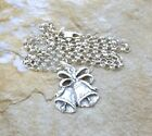 Sterling Silver Wedding Bells Pendant on 3mm Rolo Necklace -3470