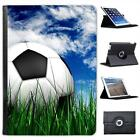 Football Sat on Green Grass  Blue Cloudy Sky Leather Case For iPad Air & Air 2