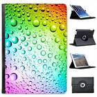 Rainbow Multi colour Water Droplets Folio Leather Case For iPad Air & Air 2
