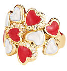 Red White and Gold Tone Floating Hearts Ring