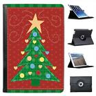 Childs Drawing of Green Christmas Tree with Hearts Leather Case For iPad Mini