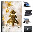 Gold Christmas Tree Decoration Bells & Stars Folio Leather Case For iPad Mini