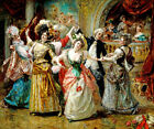 THE BEAU AT THE SOIREE FINE PARTY FRENCH PAINTING BY EDUARDO LEON GARRIDO REPRO