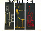 Set Of 4 Deluxe Black Wine Bottle Present Gift Bags Red Gold Or Silver Designs
