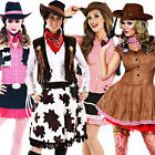 Cowgirl Ladies Fancy Dress Western Cowboys & Indians Womens Costume + Cowboy Hat