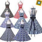 Vintage Retro Rockabilly Swing Halter Formal Party Prom Ball Gowns Evening Dress