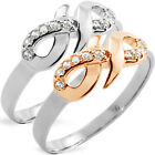 925 Sterling Silver Sideways Side Way Infinity Love Clear CZ New Ring Sizes 3-11