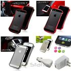 DRACO Aluminum Metal Case Bumper+White AC+Car Charger+Sticker For iPhone 5 5S