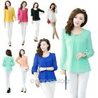 Womens Long Sleeve Chiffon Pleated Blouse Top Shirt Size S-XXXXL UK local ship