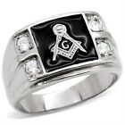 New Stainless Steel Men's Masonic Mason CZ Ring - Size 8-13