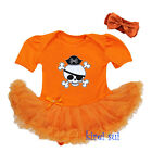 Halloween Orange Pirate Skull Pettiskirt Bodysuit Pettiskirt Party Dress Tutu