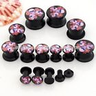 Pair 4MM-14MM Punk Pink Flower Skull Acrylic Screw Ear Tunnel Plugs Stretcher