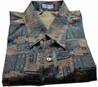 Mens Thai Silk Shirt  Short - Long Sleeve / Small - XXXL Beige Pattern no.8