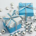BLUE AND SILVER SQUARE BOX AND LID WEDDING FAVOUR BOXES - CHOOSE QUANTITY