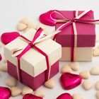 IVORY AND FUSCHIA SQUARE BOX AND LID WEDDING FAVOUR BOXES - CHOOSE QUANTITY