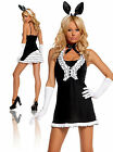 Ladies Sexy Black Playboy Bunny Hostess Costume Fancy Dress Outfit