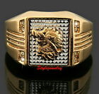 All Size 18k Gold Plate Swarovski Crystal Men Wedding Ring Men's Dragon Ring R94