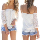 New Sexy Women's Boho Lace T Shirt Tops Blouse Hollow Off Shoulder Long Sleeve