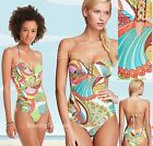 $138 Trina Turk Santa Cruz Print Buckle Bandeau One Piece Swimsuit