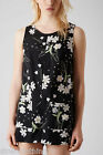New Topshop LADIES FLORAL FLOWER SHORTS PLAYSUIT sz 6-14 BLACK WHITE