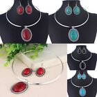 1 Set Big Turquoise Oval Beads Pendant Pendant Circle Hoop Necklace + Earrings