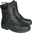 Black Leather Army Patrol Combat Boots Tactical Cadet Security Military 901