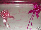 PINK SCRIPT Cellophane Hamper Gift Wrap Wedding Birthday Flowers bow/ribbon opt