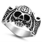 Stainless Steel Pirate Skull Face w Hat Chopper Cross Good Luck Ring Size 8-15