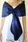 Navy Dark Blue Satin Pull-through Shawl Wrap Perfect for  Bridal Formal Prom NEW