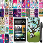 For HTC One 2 M8 Cute Design PATTERN HARD Case Back Cover Phone Accessory + Pen