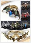 Rhinestone Crystal Bead Stretchy Golden Vampire Bat Batman Ring Punk Rock Gothic
