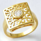 Single Cubic Zirconia Womens Mens Filigree Square Ring Y Gold Filled SZ 7-10#