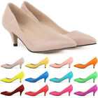 Womens Sexy Low Mid Kitten Heels Shoes PU Patent Leather Pointed Pump Size 2 - 9