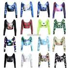 Fashion Reversible Deathly Hallow Digital Print Belly Crop Top T-Shirt Blouse