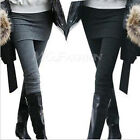 Hot Women Autumn Winter Skirt Leggings Cotton Pleated Tights Stretch Pants