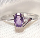 Genuine Faceted Oval Amethyst .925 Sterling Silver Ring -- AM880