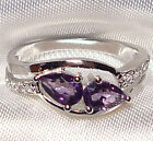 Genuine Faceted Briolette Amethyst .925 Sterling Silver Ring -- AM970