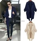 Women Asymmetric Hem Open Front Tab Sleeves Lapel Blazer Cardigan Coat Top N98B