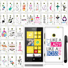For Nokia Lumia 520 Cute Design PATTERN HARD Case Phone Cover Accessory + Pen