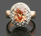18k Gold Plated Genuine Citrine Swarovski Crystal Women Bridal Wedding Ring R127