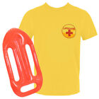 BEACH WATCH MENS LIFEGUARD TOP + FLOAT, YELLOW T-SHIRT FANCY DRESS