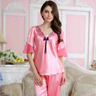 Women Lace Silk Pajamas Pyjamas Satin Sleepwear Nightgown Homewear Loungewear