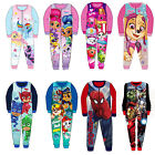 Kids Winter Fleece Onesie Disney Frozen Avengers Doc Mcstuffin Pyjamas Sleepsuit