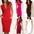 5 Colors New Women Deep V Neck Slim Knee-Length Party Bodycon Pencil Dress