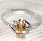 Genuine Faceted Oval Citrine Sterling Silver Ring -- CT808